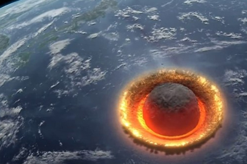 Ilustrasi asteroid yang menghantam bumi. (video screenshot)