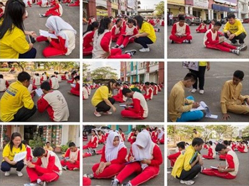 Keterangan foto: Guru dan Murid SMK Kolese Tiara Bangsa Batam Berlatih Falun Gong. (Foto istimewa)