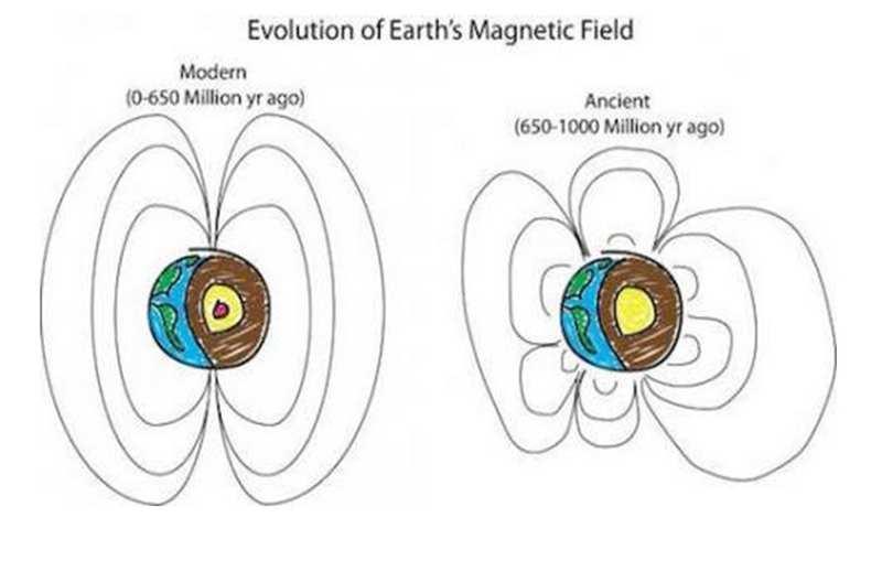 Peter Driscoll(网络图片)Peter Driscoll : Ilustrasi perubahan medan magnet Bumi dari waktu ke waktu. (Internet)