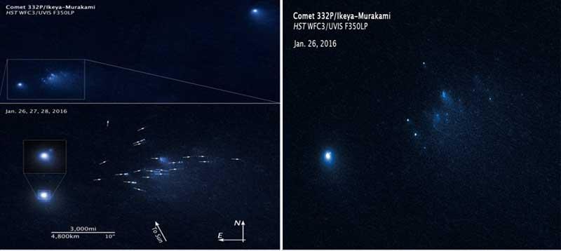 (Kiri) Komet 332P yang direkam teleskop luar angkasa Hubble dan citra animasi dari kehancuran komet (kanan). [NASA, ESA, D. Jewitt (UCLA)].